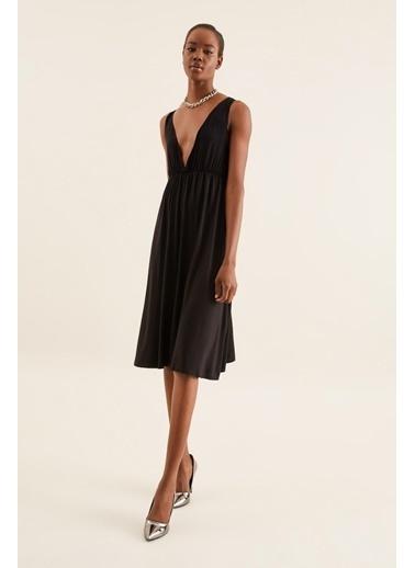 Quincey V Yaka Askılı Elbise Siyah